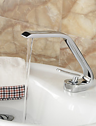 Contemporary Style Single Handle One Hole Hot and Cold Water Bathroom Sink Faucet - Silver