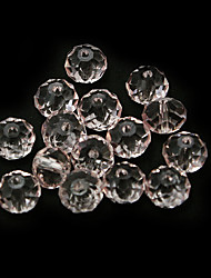 Beadia 120PCS Fashion Glass Facetted Beads 6x8mm Flat Round Shape Pink Color DIY Spacer Loose Beads