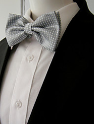 Men's Gray White Dots Pre-tied Ajustable SilkBlend Wedding Dress SilkBlend Bow Tie