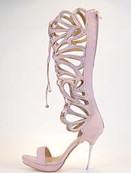 Women's Shoes Leather Stiletto Heel Heels / Peep Toe / Platform Sandals Wedding / Party & Evening / Dress Black / Pink