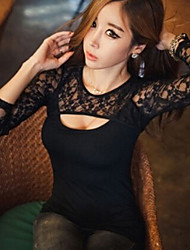 Women's Going out Sexy Summer T-shirt,Solid Round Neck Long Sleeve Black Others Thin