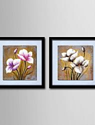 peinture à l'huile décoration fleurs abstraites main toile peinte avec étiré encadrée - ensemble de 2
