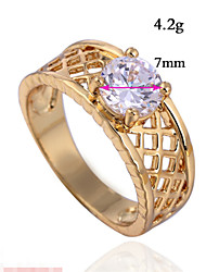 winging Gold Plated Platinum Round Simple Ring