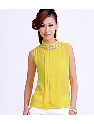 Women's Blue/White/Yellow Blouse Sleeveless