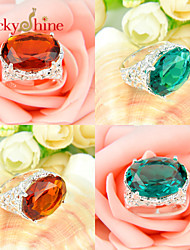 Lucky Shine Women's Man's Unisex Silver Classic Rings With Gemstone Fire Brazil Citrine Green Quartz Crystal