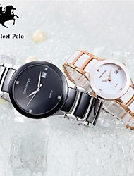 Couple's stainless steel and Ceramic watch with Japanese quartz and water resistant