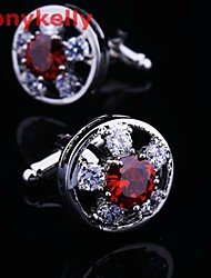 Toonykelly Fashion Silver Plated Red CZ Zircon Crystal Men Handsome Shirt Cufflink Button(1 Pair)
