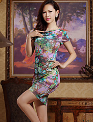 Women's Bodycon/Print/Party/Work Short Sleeve Dresses (Polyester)