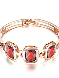 T&C Women's Classical Design Ruby Jewelry 18K Rose Gold Plated Triple Square Red Crystal Rectangle Link Bracelets