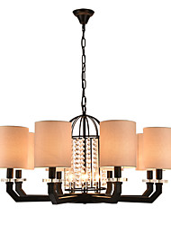 Modern Classic Personality Contracted  Wrought Iron Crystal chandelier (8+3) Light with Height Adjustable