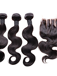 "Pack of 4Pcs  10""-30"" Hair Products with Closure Bundle Body Wave Three Part  Natural Black"