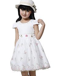 Children Kids Girls Baby Embroidered Short Sleeve Summer Princess Dress Clothes