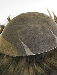 Dark Brown Ready Made All Swiss Lace  Mens Toupee 100% Human Hairpieces Hair Replacement For Men #3 Natural Looking