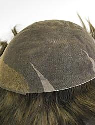 brun foncé prêts effectués tous les hommes de dentelle suisse perruque 100% postiches droits de remplacement de cheveux pour les hommes #