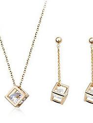 Oya Women's Korean-Style Flash Inlaid Rhinestone Crystal Earrings and Necklace Jewelry Set