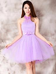 Dress - Purple Ball Gown Halter Tea-length Lace
