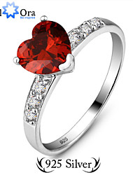 Ring Fashion Party Jewelry Sterling Silver Women Band Rings 1pc,One Size Red