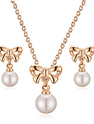 HKTC Lovely 18k Rose Gold Plated Bow Tie with White Simulated Pearl Pendant Necklace and Earrings Set