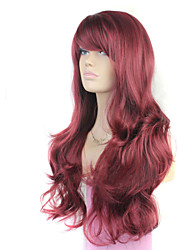 Europe And The United States the New  Ms Wine Red Inclined Bang Curly Hair Wig