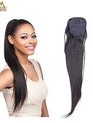 Unprocessed Ponytail Malaysian Virgin Human Hair Cuticle Intact Straight Ponytail 16inch-22inch Natural Black Can be dye