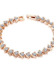 HKTC Rhinestone Jewelry 18k Rose Gold Plated Crystal Simulation Diamond Triangular Link Tennis Bracelet