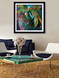 E-HOME® Framed Canvas Art, Green Leaves And Flowers Framed Canvas Print