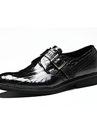 Men's Shoes Casual Leather Loafers Black/Burgundy