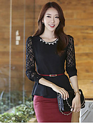 Women's Black Blouse , Round Neck Long Sleeve