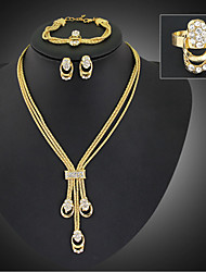Gold Women's European and American Fashion Retro Necklace Earrings Bracelet Ring Sets