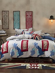 Mingjie City Style London Love Sanding Bedding Sets 4pcs Duvet Cover Sets Bed Linen China Queen Size and Full Size