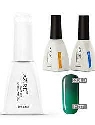 azuurblauwe 3 stuks / veel gel polish chameleon temperatuur kleur veranderende losweken uv gel nagels (# 40 + voet + top)
