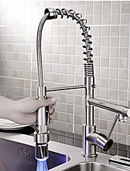 Led Light Solid Brass Nickel Brushed Deck Mounted Pull Down Kitchen Faucet With Two Spray