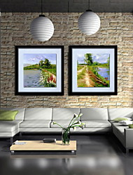 Oil Painting Decoration Abstract Landscape Hand Painted Canvas with Stretched Framed - Set of 2