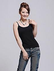 Mulheres Camiseta Com Alças Sem Manga Frente Única Algodão Mulheres