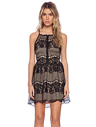 Women's Sexy Lace Cute Plus Sizes Inelastic Sleeveless Above Knee Dress (Lace)