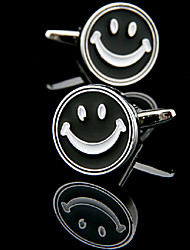 Fashion Copper Men Gift Jewelry Silver Round Smile Face Black Enamel Shirt Button Cufflinks(1Pair)