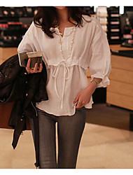Women's White Blouse , V Neck Long Sleeve