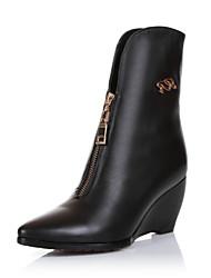 Women's Shoes Leather Wedge Heel Wedges Pumps/Heels Casual Black