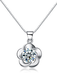 Jazlyn® Woman Platinum Plated 925 Sterling Silver Plum Blossom Flower Cubic Zirconia Charm Necklace Pendant for Gift