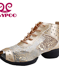 Non Customizable Women's Dance Shoes Dance Sneakers/Modern/Gymnastics Leather/ Chunky Heel Black/Silver/Gold