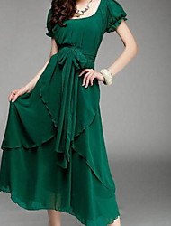 Women's Chiffon Multi-Layers Casual Midi Dress with Belt
