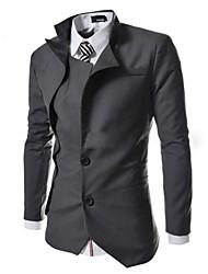 Men's Shirt Collar Suits & Blazers , Cotton Blend Long Sleeve Casual Pocket All Seasons HI MAN