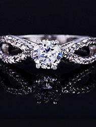 Gorgeous Women's Platinum Plated Alloy with Clear Crystals Wedding Jewelry Cubic Zirconia Ring (with Gift Box)
