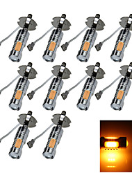 10X 5 COB SMD LED H3 Bulb Yellow Fog Light Parking Low High Beam Lamp 7.5W AC/DC 12-24V H062