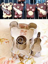 4 шт мультфильм медведь с формы скрипка Формочки набор фруктов вырезать формы из нержавеющей стали