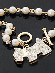 With Diamond Shining Pearl Bracelet With The Dog