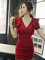 Women's Bodycon Micro-elastic Short Sleeve Above Knee Dress