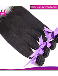 Indian Straight Hair 4Pcs Unprocessed Human Hair Extensions Natural Color #1B