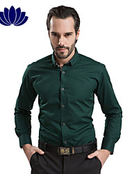 100% Cotton Dark Green Men Shirts Black Button Long sleeve Pure Color  Printed Inner of Shoulder Collar Cuff(6210)