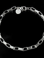 925 Silver Plated Simple Classic Chain & Link Bracelets Party/Daily 1pc